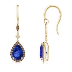 Pear-Shaped Tanzanite Drop Earrings with Coffee Diamonds