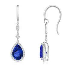 Pear-Shaped Tanzanite Drop Earrings with Diamond Halo