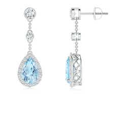 Vintage Style Pear-Shaped Aquamarine Halo Drop Earrings