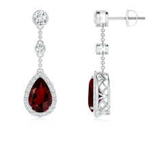 Vintage Diamond Halo Pear Garnet Drop Earrings