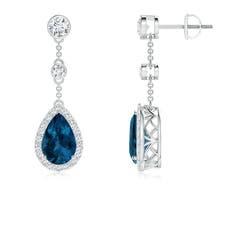 Vintage Style London Blue Topaz Halo Drop Earrings