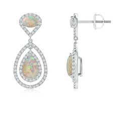 Oval and Pear-Shaped Opal Double Halo Drop Earrings