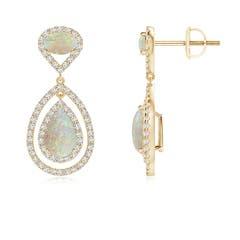 Angara Pear-Shaped Opal Stud Earrings with Diamond Halo CVZQpqBF