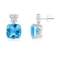 Swiss Blue Topaz Dangle Earrings with Butterfly Motifs