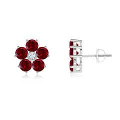 Classic Garnet and Diamond Flower Stud Earrings