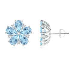 Pear-Shaped Aquamarine and Diamond Flower Stud Earrings