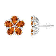 Pear-Shaped Citrine and Diamond Flower Stud Earrings