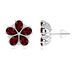 Prong Diamond and Pear Garnet Flower Stud Earrings