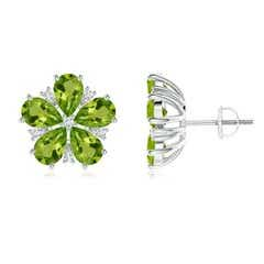 Pear-Shaped Peridot and Diamond Flower Stud Earrings