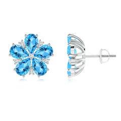 Pear-Shaped Swiss Blue Topaz and Diamond Stud Earrings