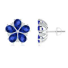 Pear-Shaped Tanzanite and Diamond Flower Stud Earrings