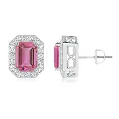 Emerald-Cut Pink Tourmaline and Diamond Halo Stud Earrings