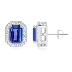 Emerald-Cut Tanzanite and Diamond Halo Stud Earrings