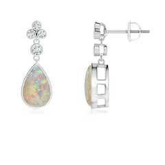 Bezel-Set Cabochon Opal Teardrop Earrings with Diamonds