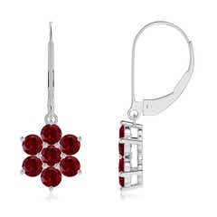 Round Garnet Floral Cluster Dangle Earrings