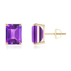 Claw-Set Emerald-Cut Amethyst Solitaire Stud Earrings