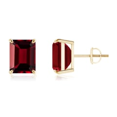 Claw-Set Emerald-Cut Garnet Solitaire Stud Earrings