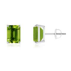 Claw-Set Emerald-Cut Peridot Solitaire Stud Earrings