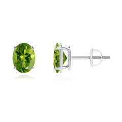 Prong-Set Oval Solitaire Peridot Stud Earrings