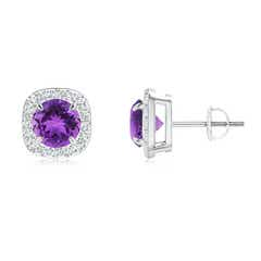 Claw-Set Amethyst and Diamond Cushion Halo Stud Earrings