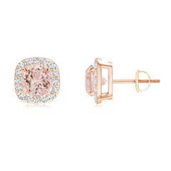 Claw-Set Morganite and Diamond Cushion Halo Stud Earrings
