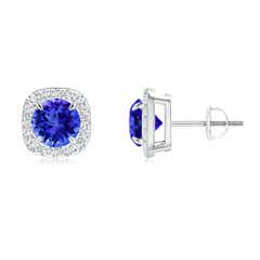 Claw Set Tanzanite and Diamond Cushion Halo Stud Earrings