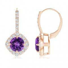 Claw-Set Amethyst and Diamond Leverback Halo Earrings