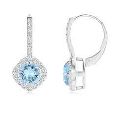 Claw-Set Aquamarine and Diamond Leverback Halo Earrings