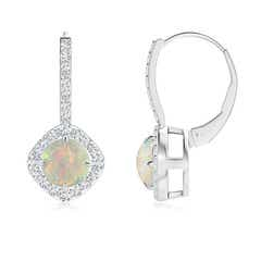 Claw-Set Cabochon Opal and Diamond Leverback Halo Earrings