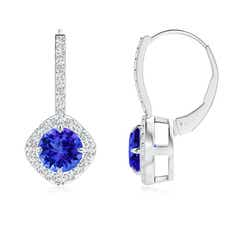 Claw Set Diamond Halo Tanzanite Leverback Earrings