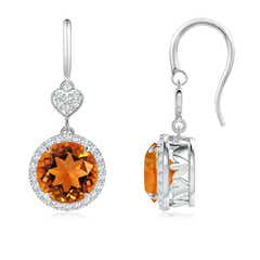 Claw-Set Citrine Dangle Earrings with Diamond Heart Motif