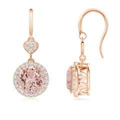 Claw-Set Morganite Dangle Earrings with Diamond Heart Motif