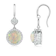 Round Cabochon Opal Drop Earrings with Diamond Heart Motifs