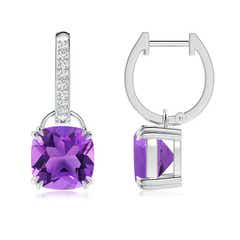 Cushion Amethyst Drop Earrings with Diamond Accents
