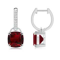 Cushion Garnet Drop Earrings with Diamond Accents