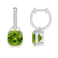 Cushion Peridot Drop Earrings with Diamond Accents