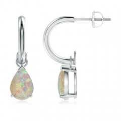Pear-Shaped Cabochon Opal Drop Earrings with Screw Back