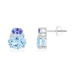 Oval Aquamarine and Tanzanite Stud Earrings with Diamonds