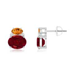 Oval Garnet and Citrine Stud Earrings with Diamonds