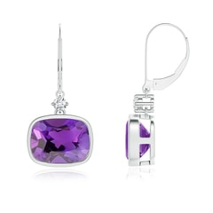 Cushion Amethyst and Diamond Leverback Dangle Earrings