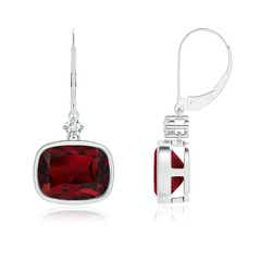 Cushion Garnet and Diamond Leverback Dangle Earrings