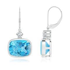 Cushion Swiss Blue Topaz and Diamond Dangle Earrings