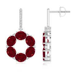 Oval Garnet Circle Dangle Earrings With Diamond Accents
