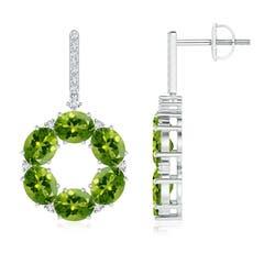 Oval Peridot Circle Dangle Earrings With Diamond Accents
