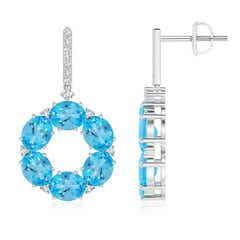 Oval Swiss Blue Topaz Circle Dangle Earrings with Diamonds