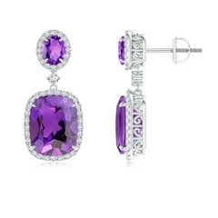 Angara Amethyst Earrings With Diamond Studded Butterfly Motifs Platinum UC53Y
