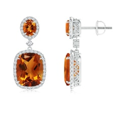 Two Tier Claw Set Citrine Dangle Earrings With Diamond Halo