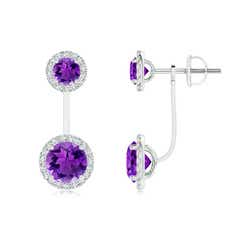 Round Amethyst Front-Back Drop Earrings with Diamond Halo