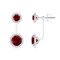 Round Garnet Front-Back Drop Earrings with Diamond Halo