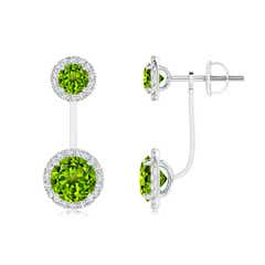 Round Peridot Front-Back Drop Earrings with Diamond Halo